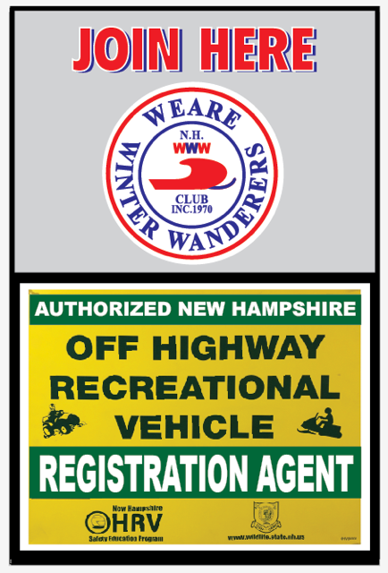 NH OHRV sign and Weare Winter Wanderers